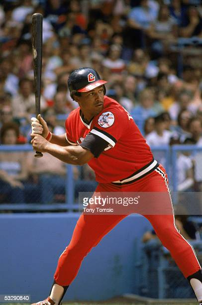 Andre Thornton of the Cleveland Indians readies for the pitch during an MLB game at Cleveland Municipal Stadium in Cleveland Ohio