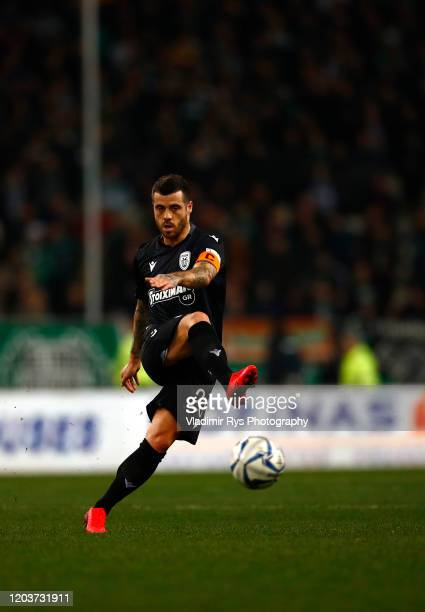 Andre Vieirinha of PAOK in action during the Greece SuperLeague match between Panathinaikos FC and P.A.O.K. At OAKA Stadium on February 02, 2020 in...