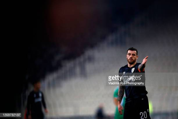 Andre Vieirinha of PAOK is pictured during the Greece SuperLeague match between Panathinaikos FC and P.A.O.K. At OAKA Stadium on February 02, 2020 in...