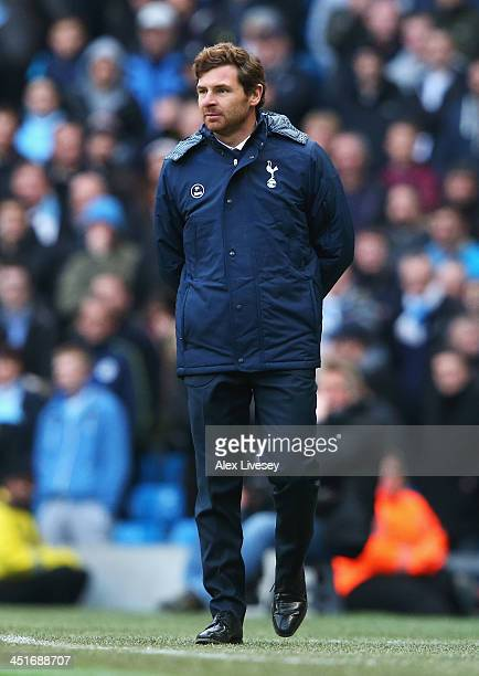 Andre Villas Boas manager of Tottenham Hotspur looks on during the Barclays Premier League match between Manchester City and Tottenham Hotspur at...