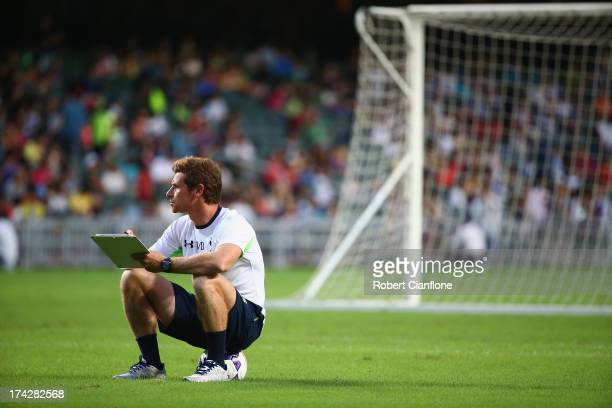 Andre VillasBoas coach of Tottenham Hotspur looks on during a Tottenham Hotspur Barclays Asia Trophy training session at Hong Kong Stadium on July 23...