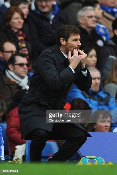 Andre VillasBoas manager of Chelsea whistles during the FA Cup with Budweiser Fifth Round match between Chelsea and Birmingham City at Stamford...
