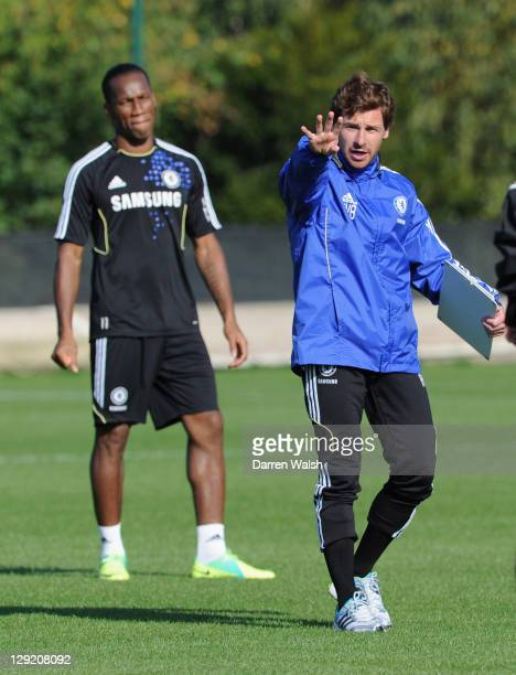Andre VillasBoas of Chelsea during a training session at the Cobham training ground on October 14 2011 in Cobham England