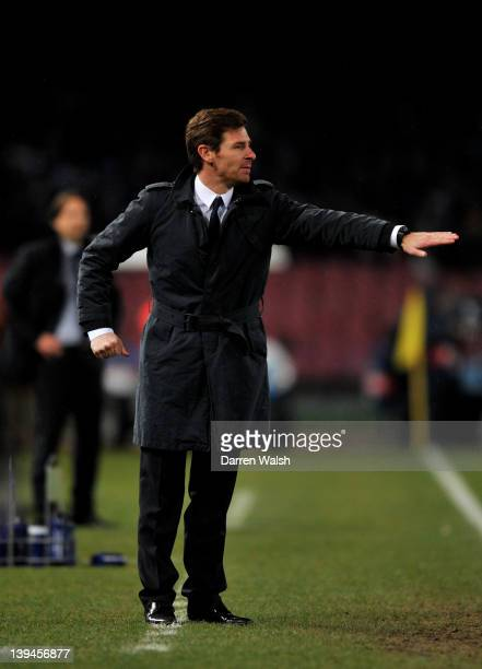 Andre Villas-Boas the Chelsea manager directs his players during the UEFA Champions League round of 16 first leg match between SSC Napoli and Chelsea...