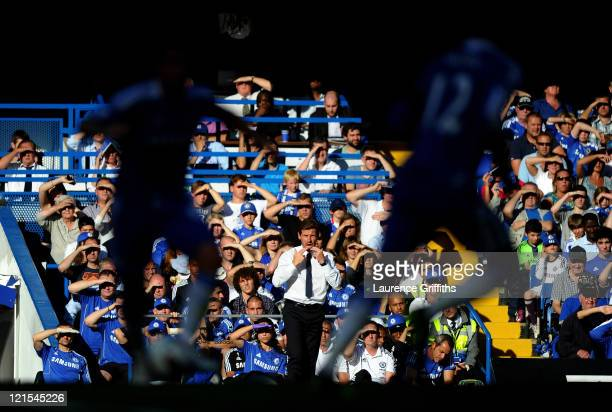 Andre VillasBoas the Chelsea manager looks on during the Barclays Premier League match between Chelsea and West Bromwich Albion at Stamford Bridge on...
