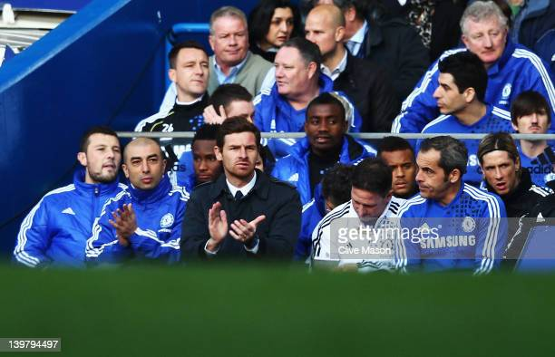 Andre VillasBoas the Chelsea manager watches from the touchline during the Barclays Premier League match between Chelsea and Bolton Wanderers at...
