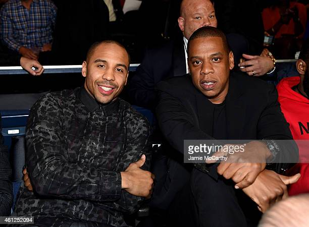 Andre Ward and JayZ attend as Roc Nation Sports Presents throne boxing At The Theater At Madison Square Garden on January 9 2015 in New York City