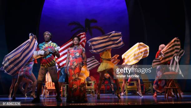 Andre Ward and Rema Ward with cast perform at the Press Sneak Peak for the Jimmy Buffett Broadway Musical 'Escape to Margaritaville' on February 14...