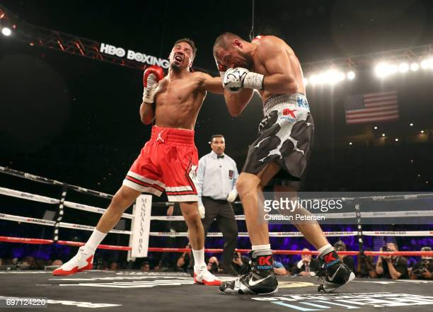 Andre Ward and Sergey Kovalev battle it out during their light heavyweight championship bout at the Mandalay Bay Events Center on June 17, 2017 in...
