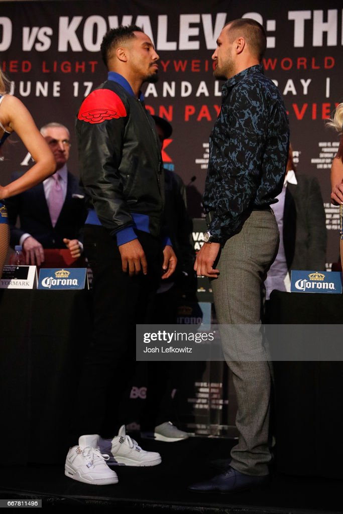 Andre Ward and Sergey Kovalev faceoff at the end of the press conference at the Roosevelt Ballroom on April 12, 2017 in Los Angeles, California. Sergey Kovalev will challenge Andre Ward for the Unified Light Heavyweight World Championship Saturday, June 17, 2017 at the Mandalay Bay Resort in Las Vegas.