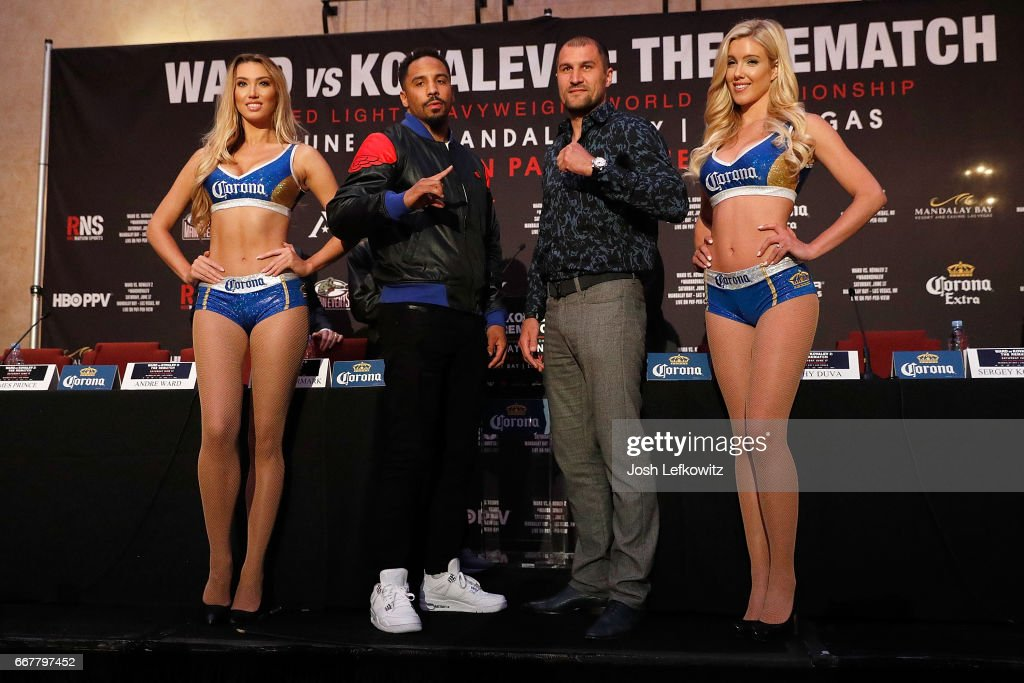 Andre Ward and Sergey Kovalev pose for photographs at the end of the press conference at the Roosevelt Ballroom on April 12, 2017 in Los Angeles, California. Sergey Kovalev will challenge Andre Ward for the Unified Light Heavyweight World Championship Saturday, June 17, 2017 at the Mandalay Bay Resort in Las Vegas.