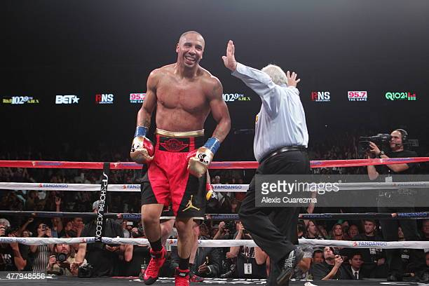 Andre Ward celebrates after beating Paul Smith in the eighth round of their Cruiserweight fight at ORACLE Arena on June 20 2015 in Oakland California