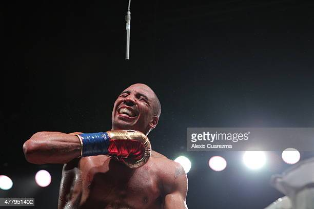 Andre Ward celebrates after beating Paul Smith in the eighth round during their Cruiserweight fight at ORACLE Arena on June 20 2015 in Oakland...