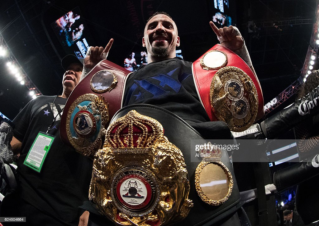 Andre Ward celebrates after his unanimous-decision victory over Sergey Kovalev in their light heavyweight title bout at T-Mobile Arena on November 19, 2016 in Las Vegas, Nevada.
