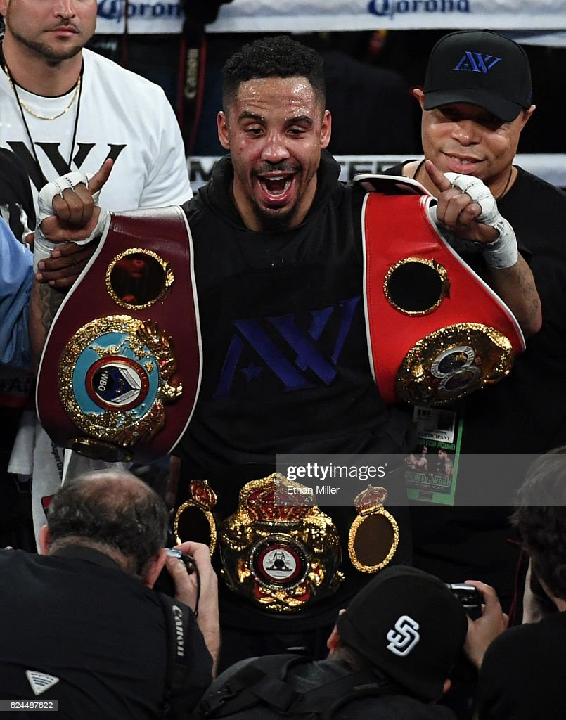 Andre Ward celebrates after winning his light heavyweight championship bout against Sergey Kovalev at T-Mobile Arena on November 19, 2016 in Las Vegas, Nevada. Ward took Kovalev's WBA, IBF and WBO titles with a unanimous-decision victory.