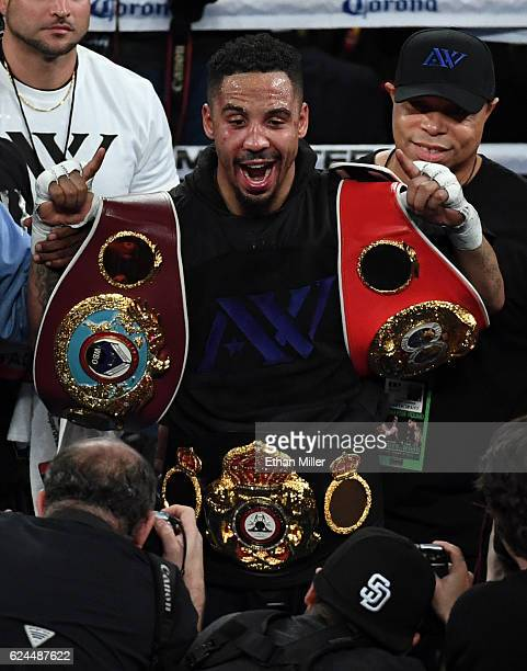 Andre Ward celebrates after winning his light heavyweight championship bout against Sergey Kovalev at TMobile Arena on November 19 2016 in Las Vegas...