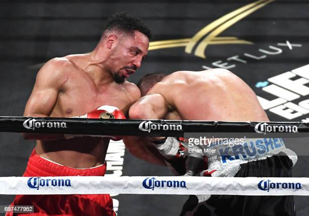 Andre Ward hits Sergey Kovalev with a left in the eighth round of their light heavyweight championship bout at the Mandalay Bay Events Center on June...