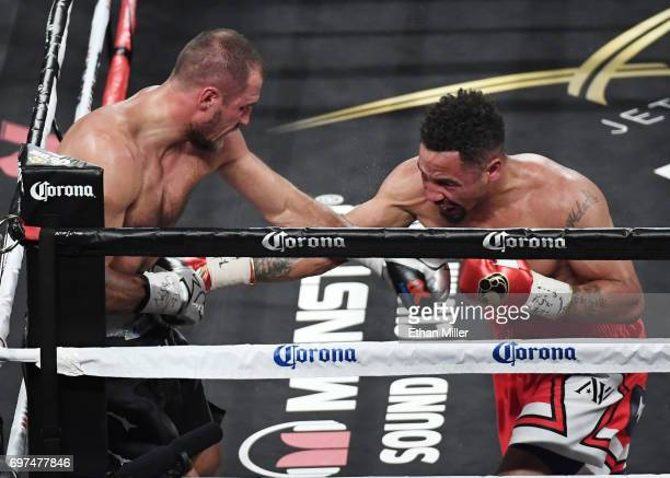 Andre Ward hits Sergey Kovalev with a right in the eighth round of their light heavyweight championship bout at the Mandalay Bay Events Center on...