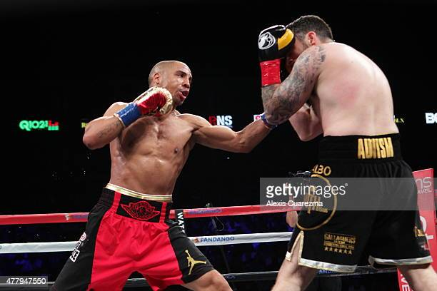 Andre Ward lands a left hook on Paul Smith during their Cruiserweight fight at ORACLE Arena on June 20 2015 in Oakland California