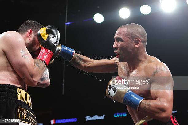 Andre Ward lands a right on Paul Smith during their Cruiserweight fight at ORACLE Arena on June 20 2015 in Oakland California
