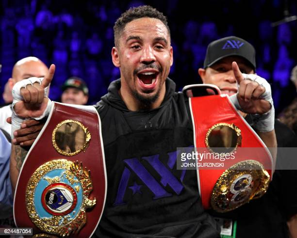 TOPSHOT Andre Ward of the US celebrates his unanimous decision victory over Sergey Kovalev of Russia to win their WBA IBF and WBO lightheavyweight...