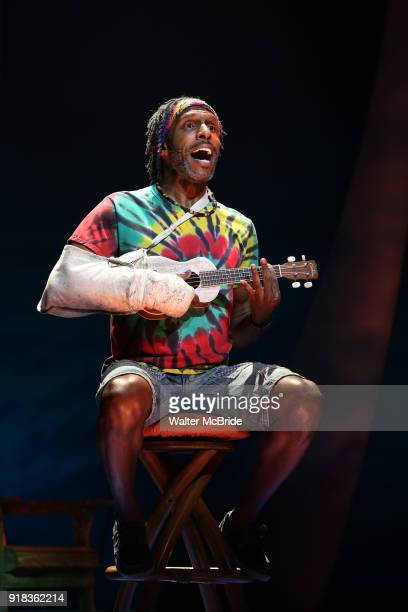 Andre Ward perform at the Press Sneak Peak for the Jimmy Buffett Broadway Musical 'Escape to Margaritaville' on February 14 2018 at the Marquis...