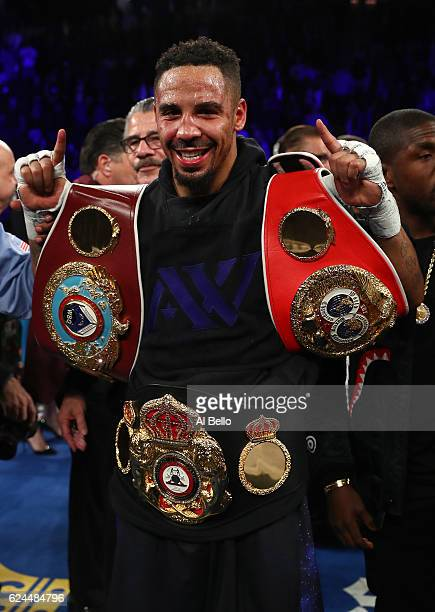 Andre Ward poses after defeating Sergey Kovalev of Russia by unanimous decision in their light heavyweight title bout at TMobile Arena on November 19...