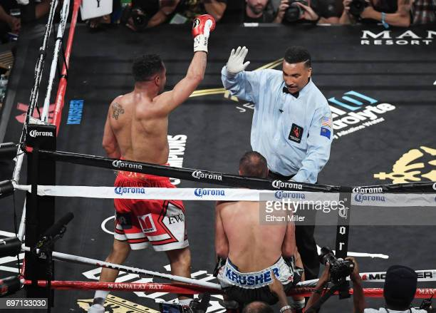Andre Ward reacts as reacts as referee Tony Weeks stops his light heavyweight championship bout against Sergey Kovalev at the Mandalay Bay Events...