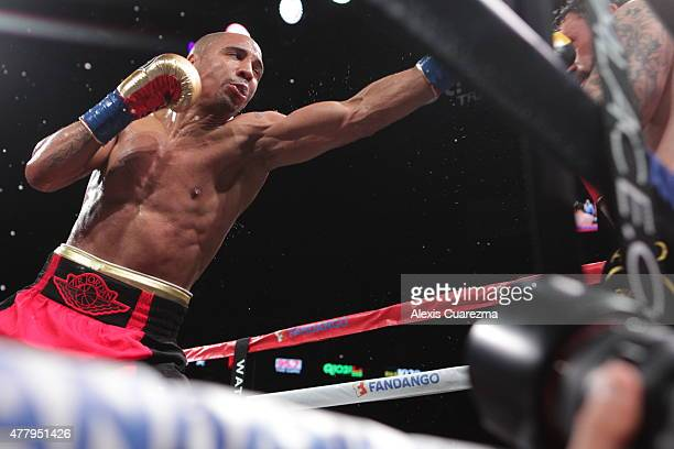 Andre Ward throws a jab against Paul Smith during their Cruiserweight fight at ORACLE Arena on June 20 2015 in Oakland California