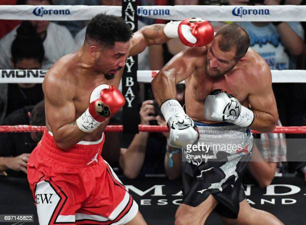 Andre Ward throws a left at Sergey Kovalev in the second round of their light heavyweight championship bout at the Mandalay Bay Events Center on June...