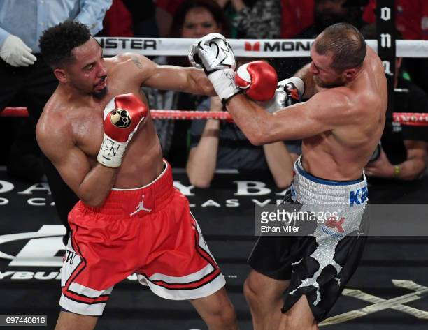 Andre Ward throws a left at Sergey Kovalev in the sixth round of their light heavyweight championship bout at the Mandalay Bay Events Center on June...