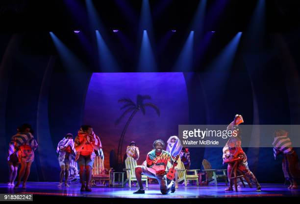 Andre Ward with cast performs at the Press Sneak Peak for the Jimmy Buffett Broadway Musical 'Escape to Margaritaville' on February 14 2018 at the...