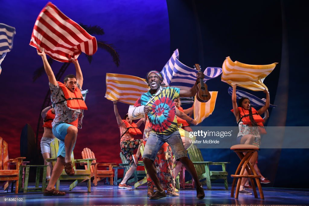 Andre Ward with the cast performing at the Press Sneak Peak for the Jimmy Buffett Broadway Musical 'Escape to Margaritaville' on February 14, 2018 at the Marquis Theatre in New York City.