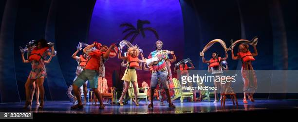 Andre Ward with the cast performing at the Press Sneak Peak for the Jimmy Buffett Broadway Musical 'Escape to Margaritaville' on February 14 2018 at...