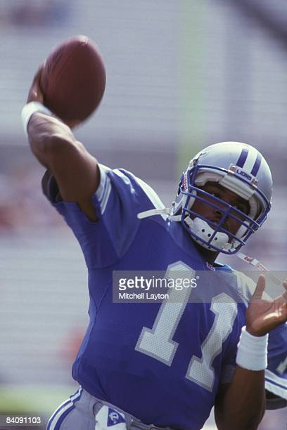 Andre Ware of the Detroit Lions during warm ups of a NFL football game against the Tampa Bay Buccaneers on October 15 1992 at Raymond James Stadium...