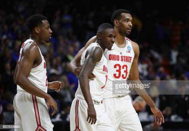 Andre Wesson Kam Williams and Keita BatesDiop of the Ohio State Buckeyes celebrate defeating the South Dakota State Jackrabbits 8173 in the first...