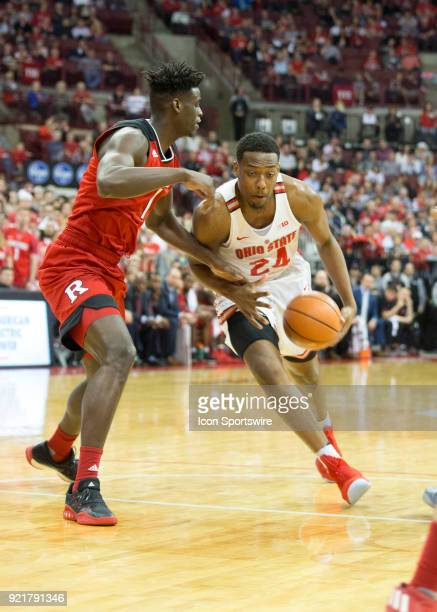 Andre Wesson of the Ohio State Buckeyes dribbles the ball to the hoop during the game between the Ohio State Buckeyes and the Rutgers Scarlet Knights...