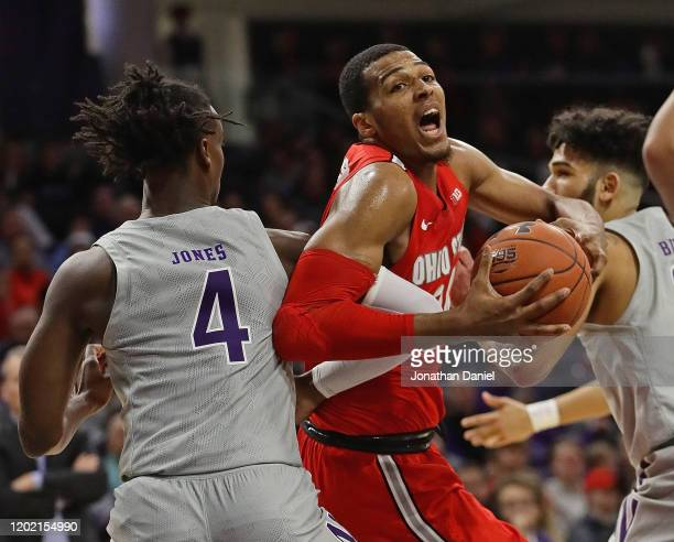 Andre Wesson of the Ohio State Buckeyes drives against Jared Jones of the Northwestern Wildcats at Welsh-Ryan Arena on January 26, 2020 in Evanston,...