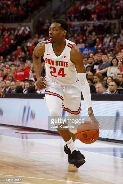 Andre Wesson of the Ohio State Buckeyes drives to the basket in the game against the Maryland Terrapins at Value City Arena on February 23 2020 in...