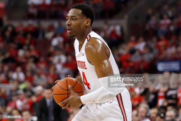Andre Wesson of the Ohio State Buckeyes in action in the game against the Maryland Terrapins at Value City Arena on February 23 2020 in Columbus Ohio