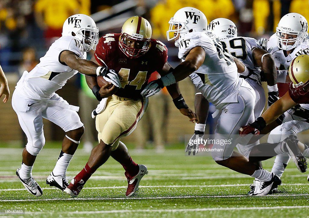 Andre Williams #44 of the Boston College Eagles plays against the Wake Forest Demon Deacons during the game on September 6, 2013 at Alumni Stadium in Chestnut Hill, Massachusetts.