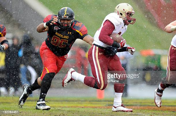 Andre Williams of the Boston College Eagles rushes the ball against AJ Francis of the Maryland Terrapins at Byrd Stadium on October 29 2011 in...