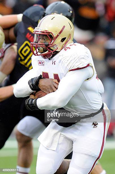 Andre Williams of the Boston College Eagles rushes the ball against the Maryland Terrapins at Byrd Stadium on November 23 2013 in College Park...