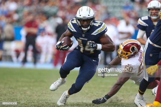 Andre Williams of the Los Angeles Chargers runs the ball for a gain during a NFL game between the Washington Redskins and the Los Angeles Chargers on...