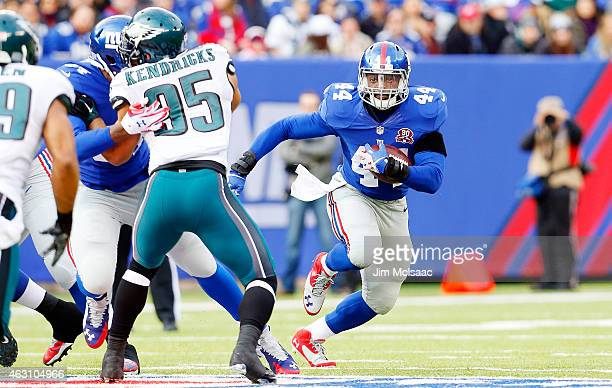Andre Williams of the New York Giants in action against the Philadelphia Eagles on December 28 2014 at MetLife Stadium in East Rutherford New Jersey...