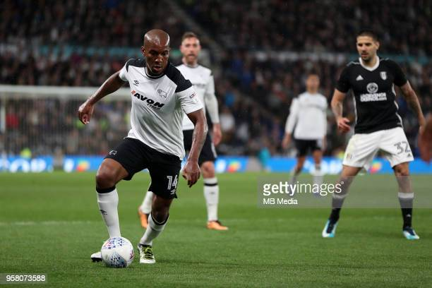 Andre Wisdom goes on the attack against Fulham during the Sky Bet Championship Play Off Semi FinalFirst Leg between Derby County and Fulham on May 11...