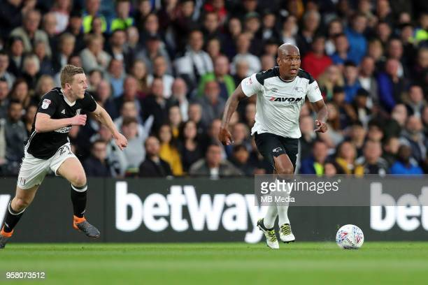 Andre Wisdom goes on the attack during the Sky Bet Championship Play Off Semi FinalFirst Leg between Derby County and Fulham on May 11 2018 at Pride...