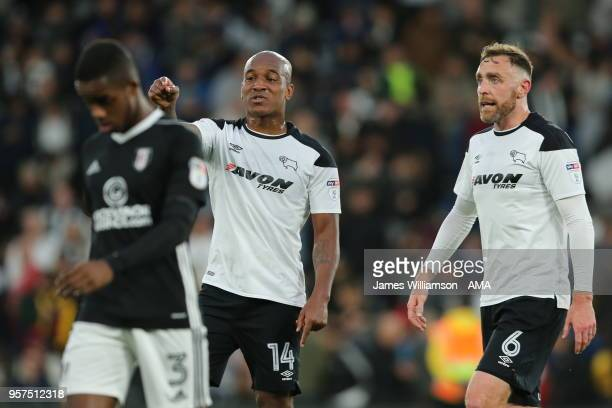 Andre Wisdom of Derby County and Richard Keogh of Derby County during the Sky Bet Championship Play Off Semi FinalFirst Leg match between Derby...