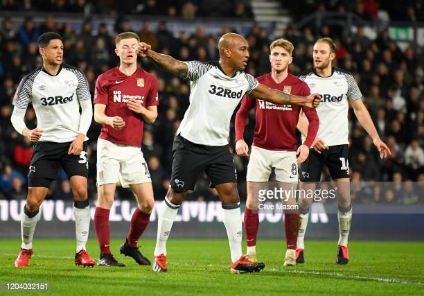 Andre Wisdom of Derby County celebrates after scoring his team's first goal during the FA Cup Fourth Round Replay match between Derby County and...