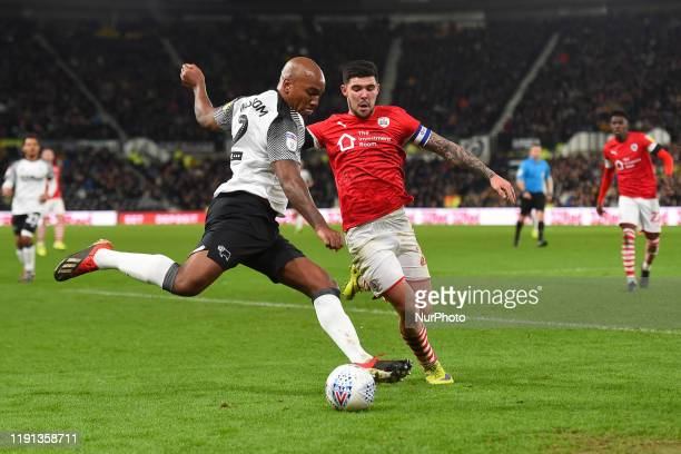Andre Wisdom of Derby County crosses the ball leading to Derby's 2nd goal during the Sky Bet Championship match between Derby County and Barnsley at...